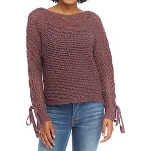 Lace Up Sleeves Purple Sweater